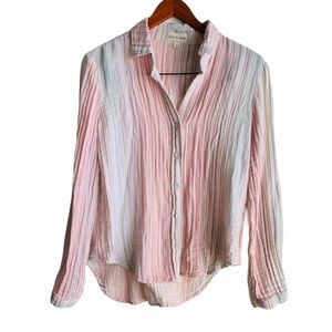 Cloth & Stone Striped Pink Button Up Cotton Top